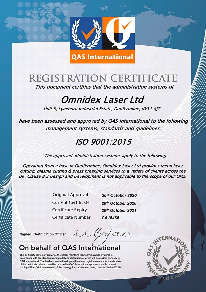 Omnidex Laser - High quality sheet steel cutting service with ISO 9001 guaranteed