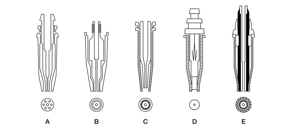 Figure 3: Nozzle designs where a shows one piece of acetylene cutting nozzle, B shows a two-piece of acetylene cutting nozzle, C shows a two-piece of natural gas cutting nozzle, D shows a two-piece of a propane nozzle while E shows a two-piece of a propane nozzle with an oxygen curtain